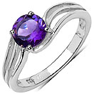 1.13CTW Genuine Amethyst .925 Sterling Silver Ring