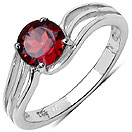 1.35CTW Genuine Garnet .925 Sterling Silver Ring