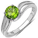 1.13CTW Genuine Peridot .925 Sterling Silver Ring