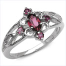 0.71CTW Genuine Rhodolite .925 Sterling Silver Ring