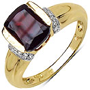 2.07CTW Genuine Rhodolite & White Topaz 14K Yellow Gold Plated .925 Sterling Silver Ring