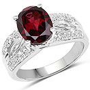 3.28CTW Genuine Rhodolite & White Topaz .925 Sterling Silver Solitaire Ring