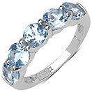 3.00CTW Genuine Blue Topaz .925 Sterling Silver Ring