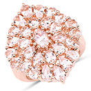 4.55CTW Genuine Morganite 18K Rose Gold Plated .925 Sterling Silver Floral Shape Ring