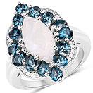 """4.68CTW White Rainbow Moonstone, London Blue Topaz & White Topaz .925 Sterling Silver Ring"""