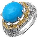 8.71CTW Genuine Turquoise & White Cubic Zircon 14K Yellow Gold Plated .925 Sterling Silver Ring