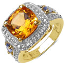 3.87CTW Genuine Citrine & Tanzanite 14K Yellow Gold Plated .925 Sterling Silver Ring