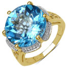 14.15CTW Genuine Blue Topaz 14K Yellow Gold Plated .925 Sterling Silver Ring