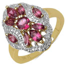 1.23CTW Genuine Rhodolite 14K Yellow Gold Plated .925 Sterling Silver Ring