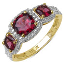 1.73CTW Genuine Rhodolite 14K Yellow Gold Plated .925 Sterling Silver Ring