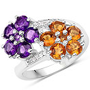 """""""2.46CTW Citrine, Amethyst & White Topaz .925 Sterling Silver Floral Shape Ring"""""""