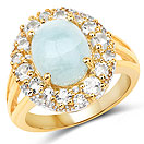 6.72CTW Genuine Aquamarine & White Topaz 14K Yellow Gold Plated .925 Sterling Silver Cocktail Ring