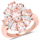 3.28CTW Genuine Morganite & White Topaz 14K Rose Gold Plated .925 Sterling Silver Floral Shape Ring