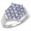 1.33CTW Genuine Tanzanite .925 Sterling Silver Ring