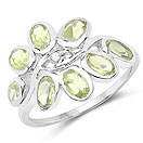1.86CTW Genuine Peridot & White Topaz .925 Sterling Silver Floral Shape Ring