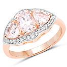 1.56CTW Genuine Morganite & White Topaz 14K Rose Gold Plated .925 Sterling Silver 3 Stone Ring