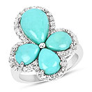 6.26CTW Turquoise & White Topaz .925 Sterling Silver Floral Shape Ring