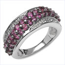 0.16CTW Genuine Rhodolite & Diamond .925 Sterling Sliver Ring