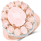 6.76CTW Genuine Morganite 14K Rose Gold Plated .925 Sterling Silver Floral Shape Ring