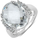 11.50CTW Genuine White Crystal & White Topaz .925 Sterling Silver Ring