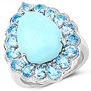 8.73CTW Genuine Turquoise & Swiss Blue Topaz .925 Sterling Silver Cocktail Ring