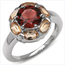 4.62CTW Genuine Garnet & Citrine .925 Sterling Silver Ring