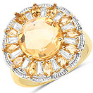 4.89CTW Genuine Citrine & White Topaz 14K Yellow Gold Plated .925 Sterling Silver Cocktail Ring