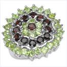 3.18CTW Garnet & Peridot .925 Sterling Silver Ring