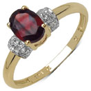 0.97CTW Genuine Garnet & White Topaz 14K Yellow Gold Plated .925 Sterling Silver Ring