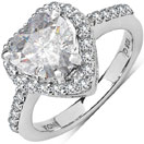4.09CTW White Cubic Zirconia .925 Sterling Silver Heart Shape Ring