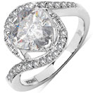 3.50CTW White Cubic Zirconia .925 Sterling Silver Heart Shape Ring