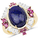 """""""6.72CTW Genuine Lapis Lazuli, Rhodolite & White Topaz 14K Yellow Gold Plated .925 Sterling Silver Cocktail Ring"""""""