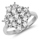 BridalMe 3.74CTW White Cubic Zirconia .925 Sterling Silver Cluster Ring
