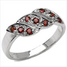 0.36CTW Genuine Garnet Rounds .925 Sterling Silver Ring