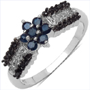 0.50CTW Genuine Blue Sapphire Black & White Diamond .925 Sterling Silver Ring