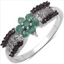 0.50CTW Genuine Emerald Black & White Diamond .925 Sterling Silver Ring