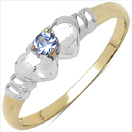 0.05CTW Genuine Tanzanite .925 Sterling Silver 14K Yellow Gold Plated Ring