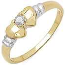 0.06CTW Genuine White Diamond 14K Yellow Gold Plated .925 Sterling Silver Heart Shape Ring