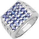 1.75CTW Genuine Tanzanite .925 Sterling Silver Cluster Ring