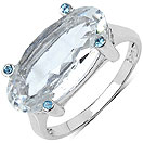 5.71CTW Genuine White Crystal & Blue Topaz .925 Sterling Silver Ring