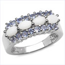 1.44CTW Genuine Opal & Tanzanite .925 Sterling Silver Ring