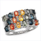 4.47CTW Multisapphire & Diamond .925 Sterling Silver Ring