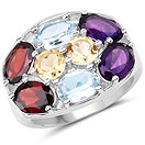 6.10CTW Multi Gemstones .925 Sterling Silver Ring
