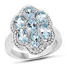 3.06CTW Genuine Aquamarine & White Diamond .925 Sterling Silver Ring