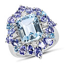 """8.03CTW Genuine Blue Topaz, Tanzanite & White Diamond .925 Sterling Silver Ring"""