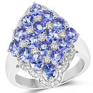 3.00CTW Genuine Tanzanite & White Zircon .925 Sterling Silver Ring