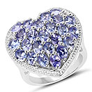 4.12CTW Genuine Tanzanite & White Topaz .925 Sterling Silver Ring