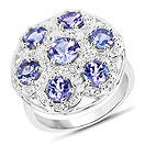 2.00CTW Genuine Tanzanite & White Zircon .925 Sterling Silver Ring