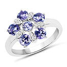 1.42CTW Genuine Tanzanite & White Zircon .925 Sterling Silver Ring