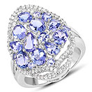 3.67CTW Genuine Tanzanite & White Zircon .925 Sterling Silver Ring